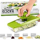 Mandolina para Comida Compacta 5 en 1 marca Twinzee - excelente para rebanar y triturar frutas y vegetales fina uniformemente en corto tiempo - trae unas afiladas cuchillas de corte intercambiables