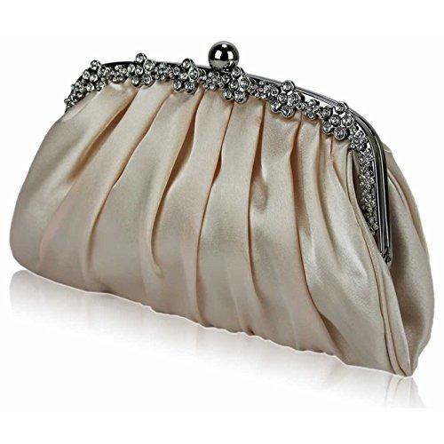 TrendStar Frauen Kupplungs Taschen Damen Kristall Abend Abschlussball Partei Hochzeit Taschen Nude 1