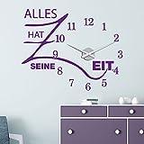 KLEBEHELD® Wandtattoo Uhr Alles hat seine Zeit mit Uhrwerk | Größe 68x55cm (B x H) | Uhr schwarz | Umlauf 44cm, Farbe lindgrün
