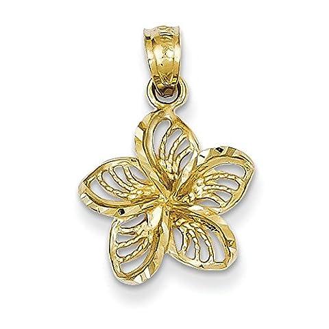 14ct Yellow Gold Diamond-Cut Filigree Plumeria Pendant