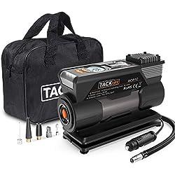 Tacklife ACP1C Gonfleur de pneu portable, DC 12 V 150 psi, gonfleur de pneu numérique avec jauge, lampe de poche LED, 4 adaptateurs de buses et fusible supplémentaire