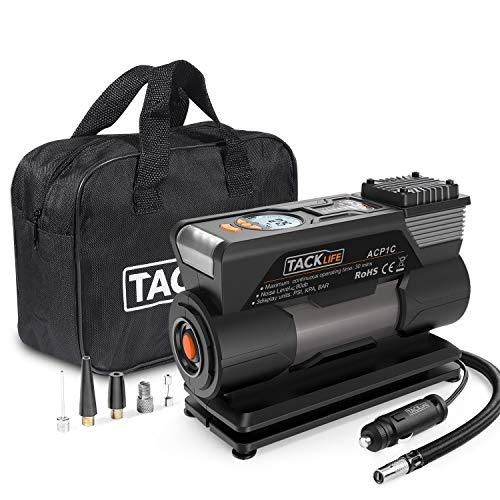 TACKLIFE ACP1C Compressore Portatile per Auto - 40L/Min Mini Pompa Elettrica a Basso Rumore, 150PSI Manometro Digitale Preciso, 120W DC12V, Preselezione e Spegnimento Automatico