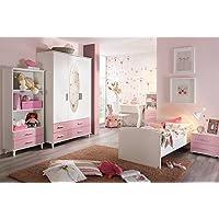 Preisvergleich für Jugendzimmer, Kinderzimmer, Komplett-Set, Jugendmöbel, Kleiderschrank, Bett mit Maßen, Nachtschrank, Kinderzimmer, Kindermöbel, 3-teilig, Mädchen