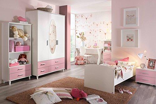 Jugendzimmer, Kinderzimmer, Komplett Set, Jugendmöbel, Kleiderschrank, Bett mit Maßen, Nachtschrank, Kinderzimmer, Kindermöbel, 3 teilig, Mädchen
