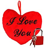 com-four® Geschenk-Set zum Valentinstag und Geburtstag (Liebesschloss + Plüsch-Herz I Love You! 18cm)
