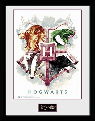 GB eye Ltd Harry Potter, Hogwarts Wasser Farbe Kunstdruck, gerahmt, 30x 40cm, Holz, Verschiedene, 52x 44x 3cm