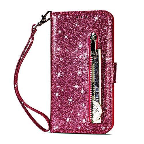 Yobby Glitzer Brieftasche Hülle für iPhone 6, iPhone 6S Rose Rot Handyhülle Bling Slim Reißverschluss Leder Schutzhülle Flipcase [Stand-Funktion] mit Kartenfach und Handschlaufe