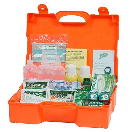 Cassetta primo soccorso in pvc, colore arancio. per aziende oltre 2 persone. appendibile a muro. contiene allegato 1 e apparecchio per la misurazione della pressione arteriosa.