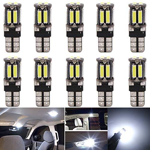 AMAZENAR 10-Pack White 194 T10 168 2825 W5W 175 158 7014 10 LED Sans Erreur Canbus, 12V pour Dôme de Carte, Feux de Position Latéraux, Plaque de Licence