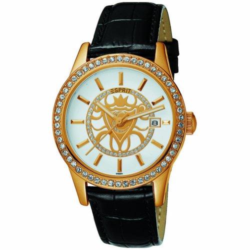 Esprit ES101802005 Bright Crest Gold Black Ladies Watch Quartz Analogue Black Dial Black Steel Strap