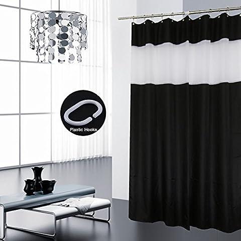 Eurcross Gestreift Duschvorhang mit 12 Haken, Stilvolles Design Wasserdichter Anti-Schimmel Polyester Badezimmer Vorhang, Schwarz / Weiß, 180*180cm