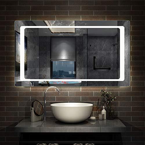 AicaSanitär LED Badspiegel 120×70 cm 6400K Kaltweiß, Touch, Anti-Beschlag Mond Serie Wandspiegel