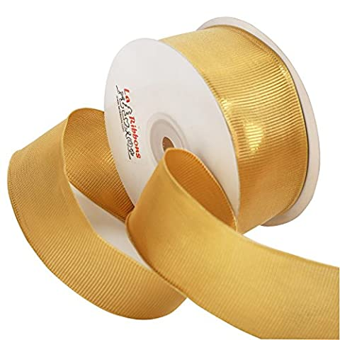 LaRibbons Wired Edge Sheer Glitter Ribbon, 38mm Wide By 25-yard Spool, Gold Series (2030)