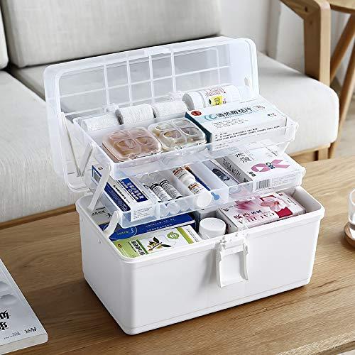 NingMiner Boîte de Rangement Portable à 3 Couches pour médicaments 33 x 17,8 x 22,1 cm, Blanc, 34 * 18 * 22.5CM