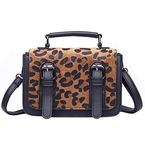 AchidistviQ Vintage Zebra Leopard Print Dual-Schnalle Damen Handtasche Umhängetasche Leopard Handtaschen Umhängetasche Koreanische Version der Wilden Umhängetasche kleine Black