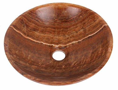 Vasque à poser en pierre naturelle marron en marbre rond lavabo évier...