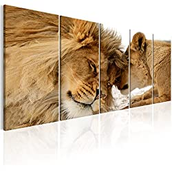 murando - Cuadro León 200x80 cm - Impresion en Calidad fotografica - Cuadro en Lienzo Tejido-no Tejido - Naturaleza Animal Paisaje g-B-0061-b-n