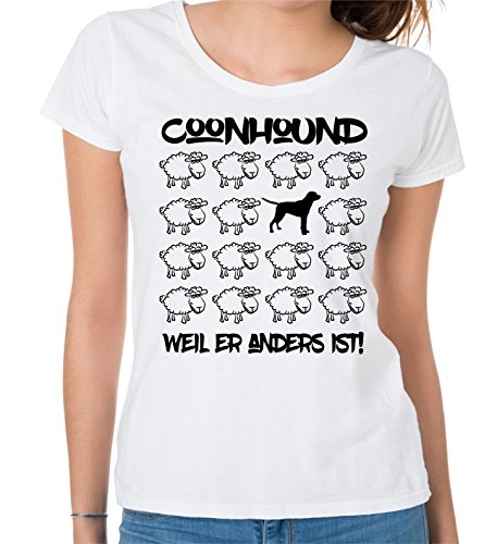 Siviwonder WOMEN T-Shirt BLACK SHEEP - COONHOUND Wachbär Jagd - Hunde Fun Schaf Weiß