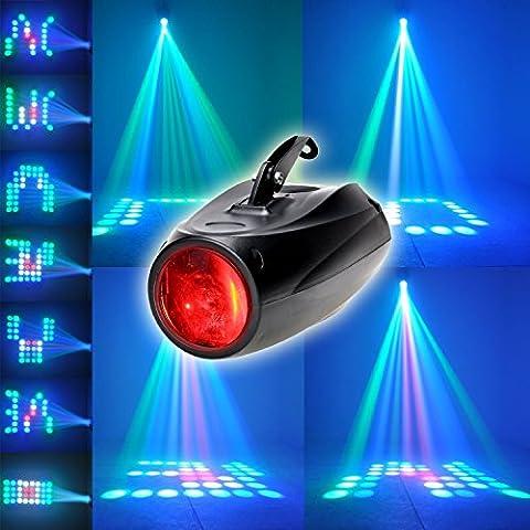 XINBAN 10W RGBW Akustisch Gesteuerte Bühnenbeleuchtung mit 64 LEDs und Halterung.Ultra Hellen Lichtstrahl und Multi Muster,LED Projektor Leuchte als Theaterbeleuchtung