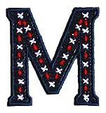 M 9cm ABC denim blau Dekoration Geschenk Stoff Patch Namen