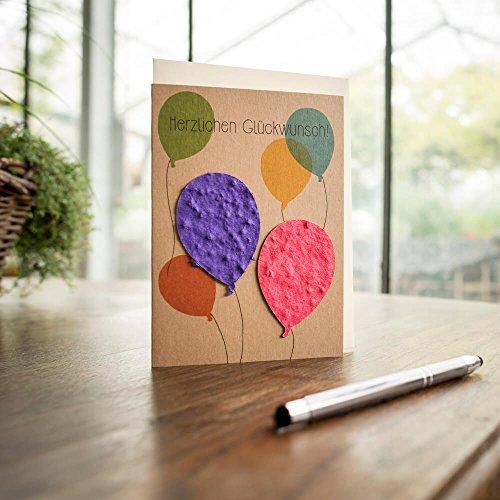 """Glückwunschkarte \""""Luftballons\"""" - Klappkarte mit Ballons die sich in Wildblumen auflösen"""
