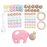 baby tete DIY Silikon Perlen Kit Schnullerkette Selber Machen Set Silikon Beißring Clip Anhänger Baby Dusche Geschenke