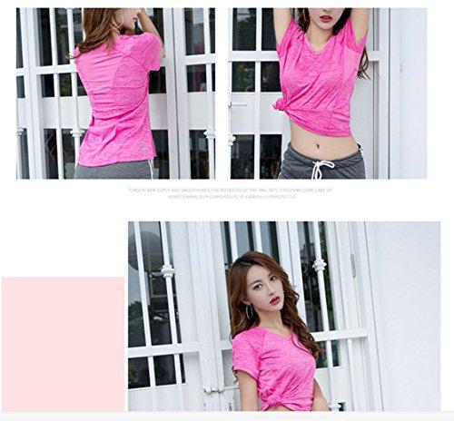 suzone Damen Sport Shirt Yoga Top Workout Short Sleeve Tee T-Shirt Freizeit Top Fitness Shirt Sport T-Shirt rosarot