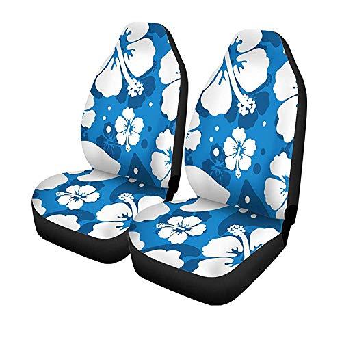2 Stück Autositzbezüge Blue Hawaiian Hibiskus Blumen Motiv Hawaii Aloha Tropical Beach Vordersitze Universal Protector 14-17 Zoll
