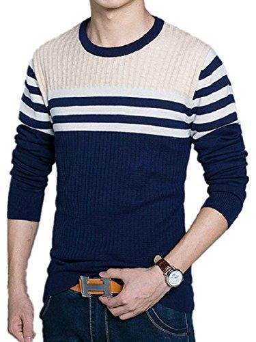 BOMOVO Herren Streifen Feinstrick Strickpullover Rundhals Pullover Sweatshirts Blau