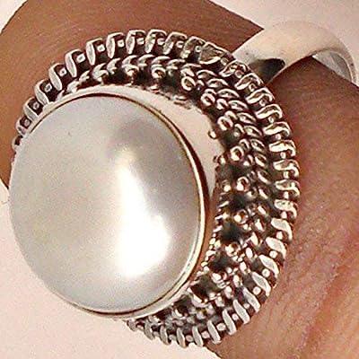 Bague faite à la main en argent sterling avec perle d'eau douce véritable 925, taille 44 à 64 FR