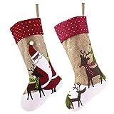 Victor's Workshop 18cm 2 Set Wolle Weihnachtsstrumpf Grün Nikolausstiefel Rot Weihnachtssocke Hängende Strümpfe für Weihnachtsdeko Frohe Weihnachten