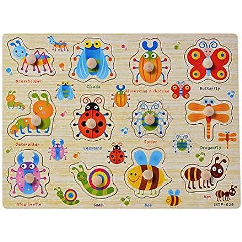 Juguetes educativos para niños Aprendizaje Temprano Agarrando Jigsaw Puzzle de madera de insectos