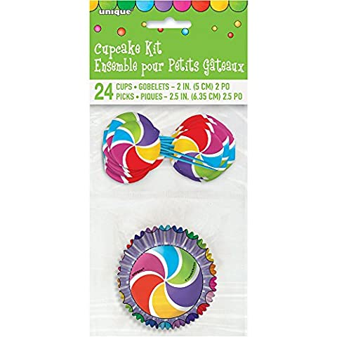 Candy Party Cupcake Cases and Cupcake Toppers Kit for 24