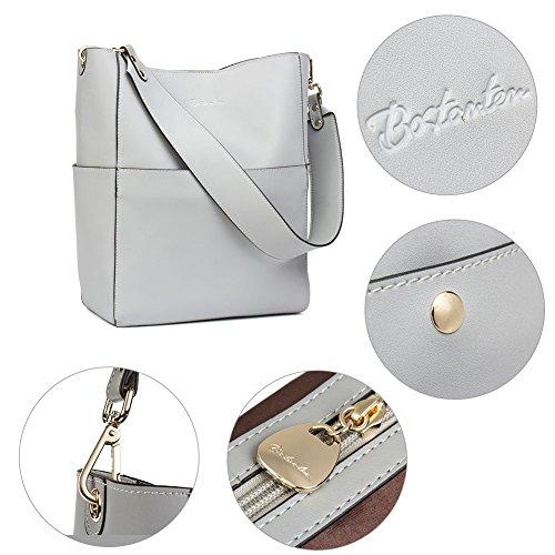 BOSTANTEN Leder Damen Handtasche Schultertasche Designer Umhängetasche Tasche Groß Hellblau Grau