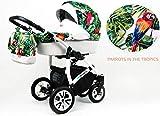Bērnu ratiņi tropu, 3in1 komplekti buggy bērnu sēdeklīša automašīnu sēdeklis Papagaiļu tropi