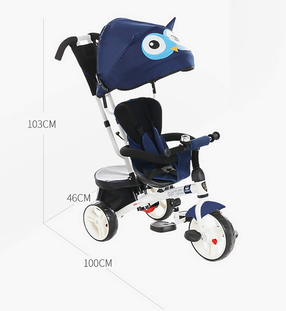 GHDE& 4 in 1 Toddler Trike Kids Tricycle with Sun Canopy, Back Storage and Removable Parent Handle Fit from 6 Months to 6 Years Max Load 30kg,Blue  4 IN 1 TRIKE: This is a growing with your child innovative kid trike, it follows with your baby's growing up and can be a baby bike, baby walker, or trike with parent pushing rod and canopy. Comfort for Kids: The large and retractable canopy provides ample shade, comfortable backrest and folding footrest to provide maximum comfort to your children. 5-point safety belts and safety fence ensure more safety for your baby. This tricycle is the best choice as an outdoor companion for children from 12 months to 5 years. CE & USA ASTMF certification, Maximum load bearing: 30 kg, Recommended height: 85-120 cm. 4