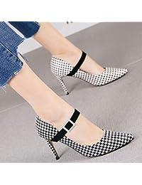 c5e828314 HRCxue Zapatos de la Corte Houndstooth Moda Tacones de Aguja Puntiagudos  Temperamento Femenino Hebilla Boca Baja Solo…