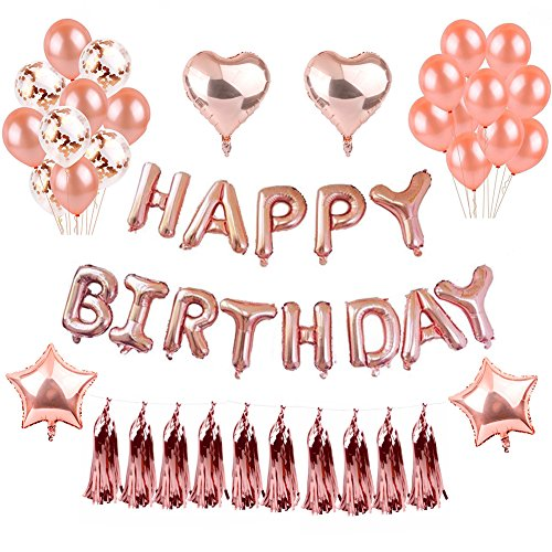 Weimi Geburtstag Dekorationen Rose Gold für Mädchen Selbst Aufblähen Folie HAPPY BIRTHDAY Banner Stern Herz Folie Ballon Konfetti Latex Ballons mit Klaren String für 1. 2. 3. 9. 13. 18. 20. 30. 40. Girls Women Party Supplies
