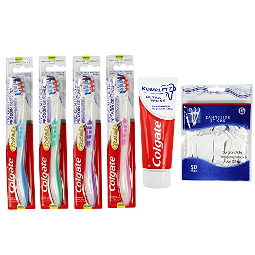colgate-by-com-four-4er-set-handzahnbrste-total-pro-gum-75-ml-zahncreme-und-zahnseide-sticks-total-p