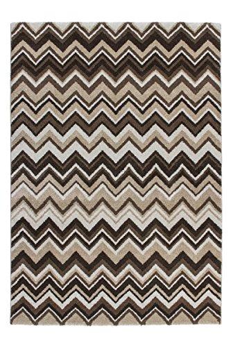 Lalee 347250424, Tappeto di Alta qualità con trendigem Zacken Modello, Beige/Marrone, Marrone, 160 x 230 cm