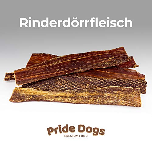 PrideDogs Rinderdörrfleisch 30 cm 500g der Premium Kausnack für Ihren Hund | 100{c6060b0d60dd78b2f83249533446bd7f692d5266d2598cc45504994754250d4c} Rind aus Deutscher Herstellung | im geruchsneutralen Beutel | Kauartikel