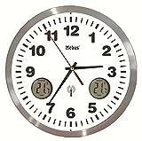 Mebus Unisex Funk-Wanduhr mit Thermometer Analog weiß 41246