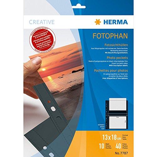 HERMA 7787 Fotophan Fotosichthüllen schwarz (13 x 18 cm quer, 10 Hüllen, Folie) mit Beschriftungsetiketten und Eurolochung für Ordner und Ringbücher, beidseitig bestückbare Fotohüllen
