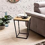 WOHNLING Beistelltisch SKANDI Retro Design:DF-Holz Eiche 60 x 50 x 50 cm | Wohnzimmertisch mit Metall-Gestell | Ablagetisch Anstelltisch hoch