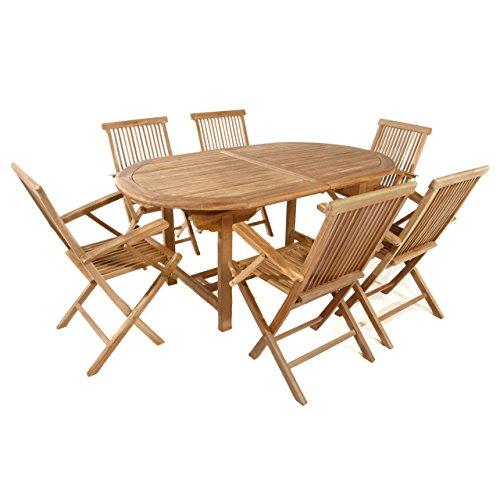 Divero Gartenmöbel-Set Terrassenmöbel-Garnitur Sitzgruppe - Großer Esstisch 170/230 cm Ausziehbar + 6X Klappstuhl mit Armlehne - Teak Massiv behandelt