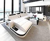 Schlichter Möbel Wohnmöbel Sofagarnitur Polstergarnitur Designsofa Sofa BORAS XL weiß-schwarz