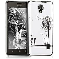 kwmobile Funda para Huawei Ascend Y635 - forro de TPU silicona cover protector para móvil - Case Diseño Amor y diente de león negro blanco