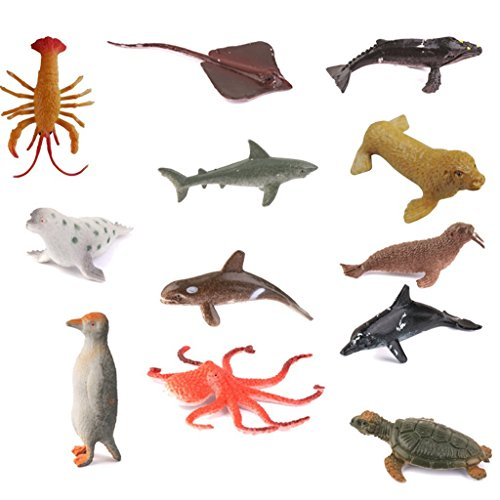 Newin Star 1set (12pcs) Marine Animals Models of Use of Multiple Sea Animals of the Ocean Realistic Figures Toys Animals