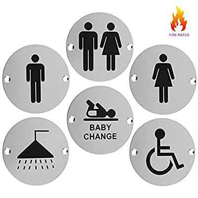 Stainless Steel Toilet and Bathroom Door Facility Signs 76mm produced by Zoo Hardware - quick delivery from UK.