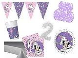 PS Party Deko Set 2.Geburtstag Minnie Mouse Einhorn Mädchen 45 teilig bis 8 Personen Kindergeburtstag Party Komplettset Raum Deko